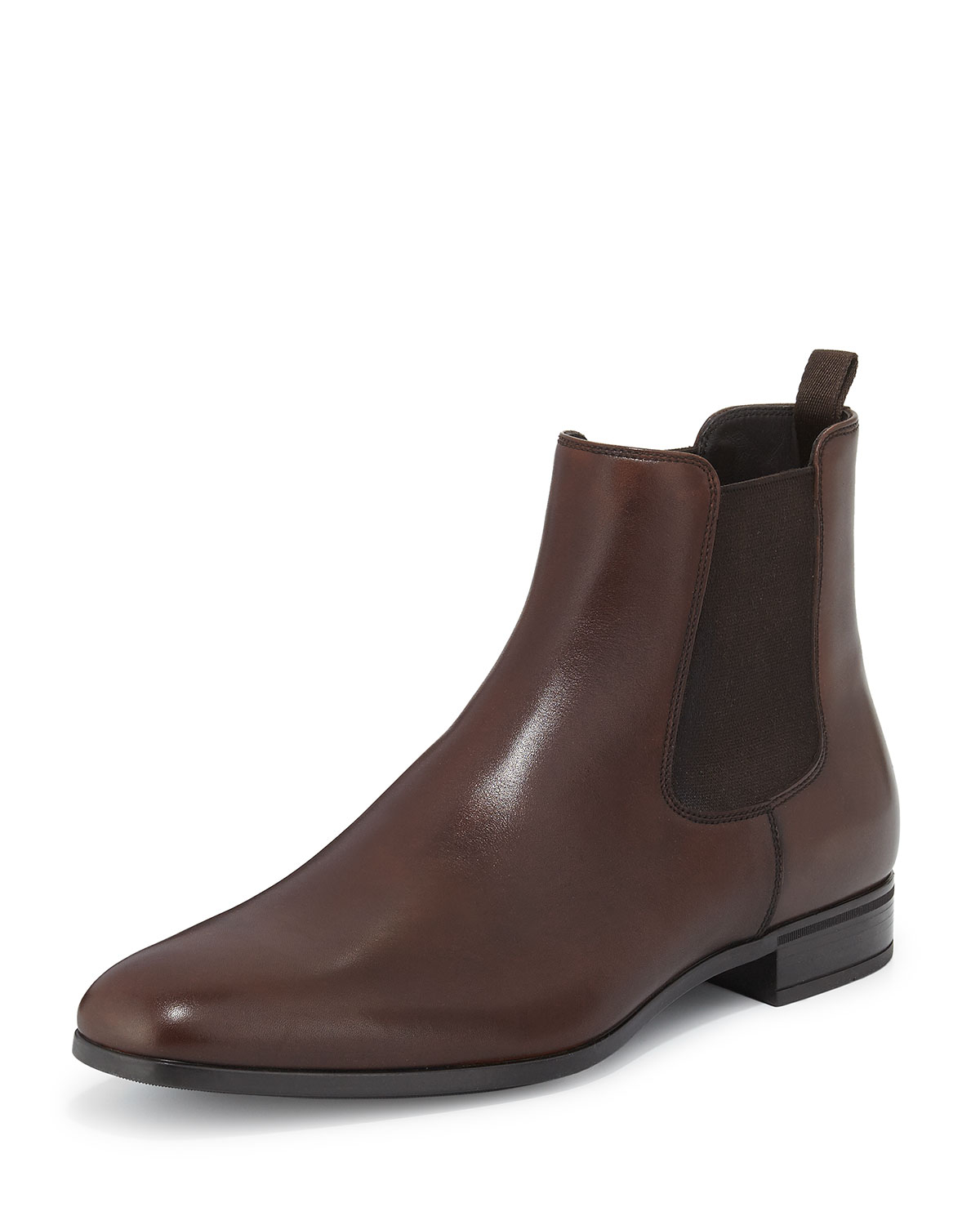 prada leather chelsea rubber bottom boot in brown lyst