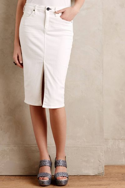 mcguire marino denim pencil skirt in beige white lyst