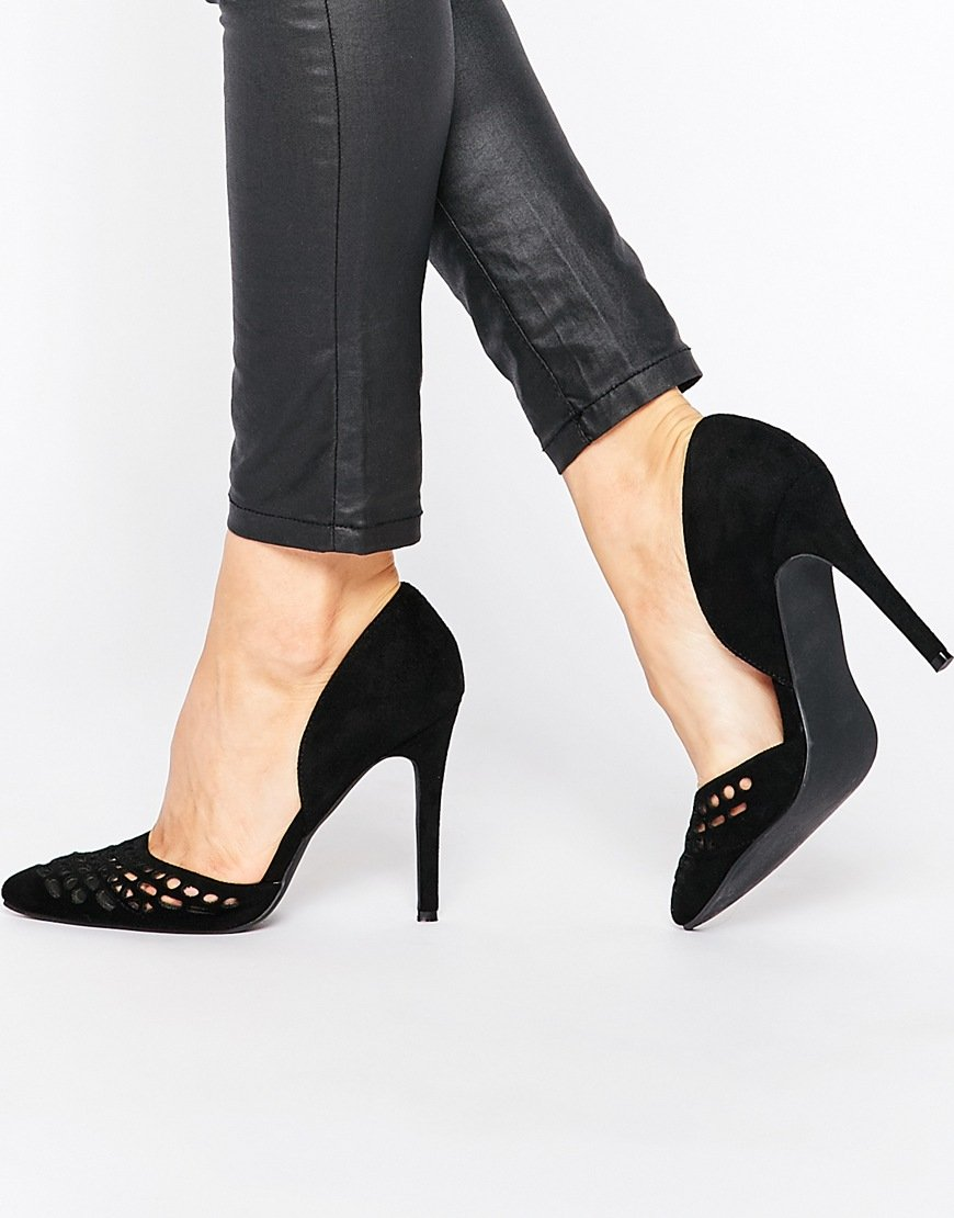 London Rebel Cut Out Court Shoes in