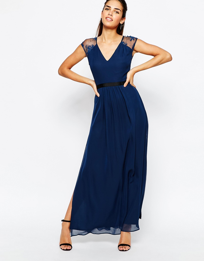Elise ryan Maxi Dress With Open Lace Back And Contrast Waistband ...