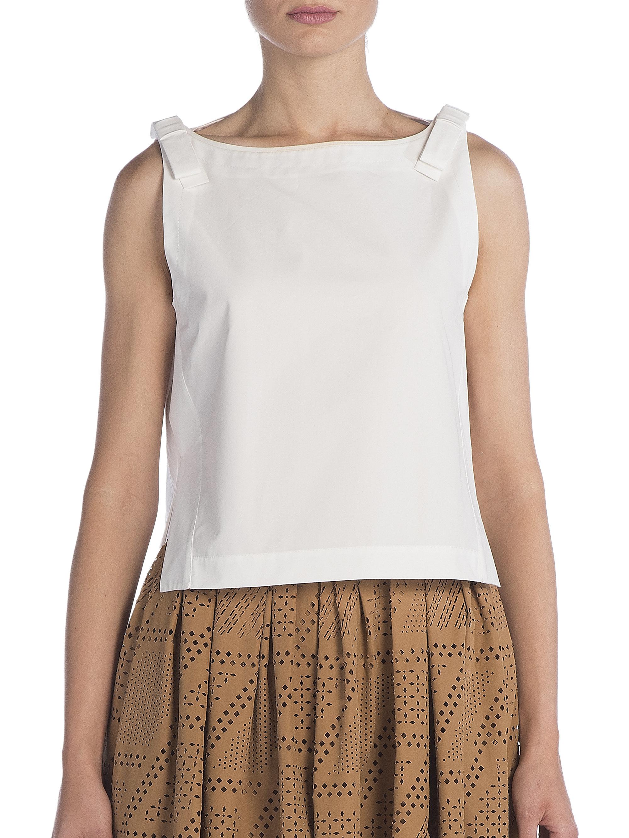 Lyst Fendi Sleeveless Cotton Bow Top In White