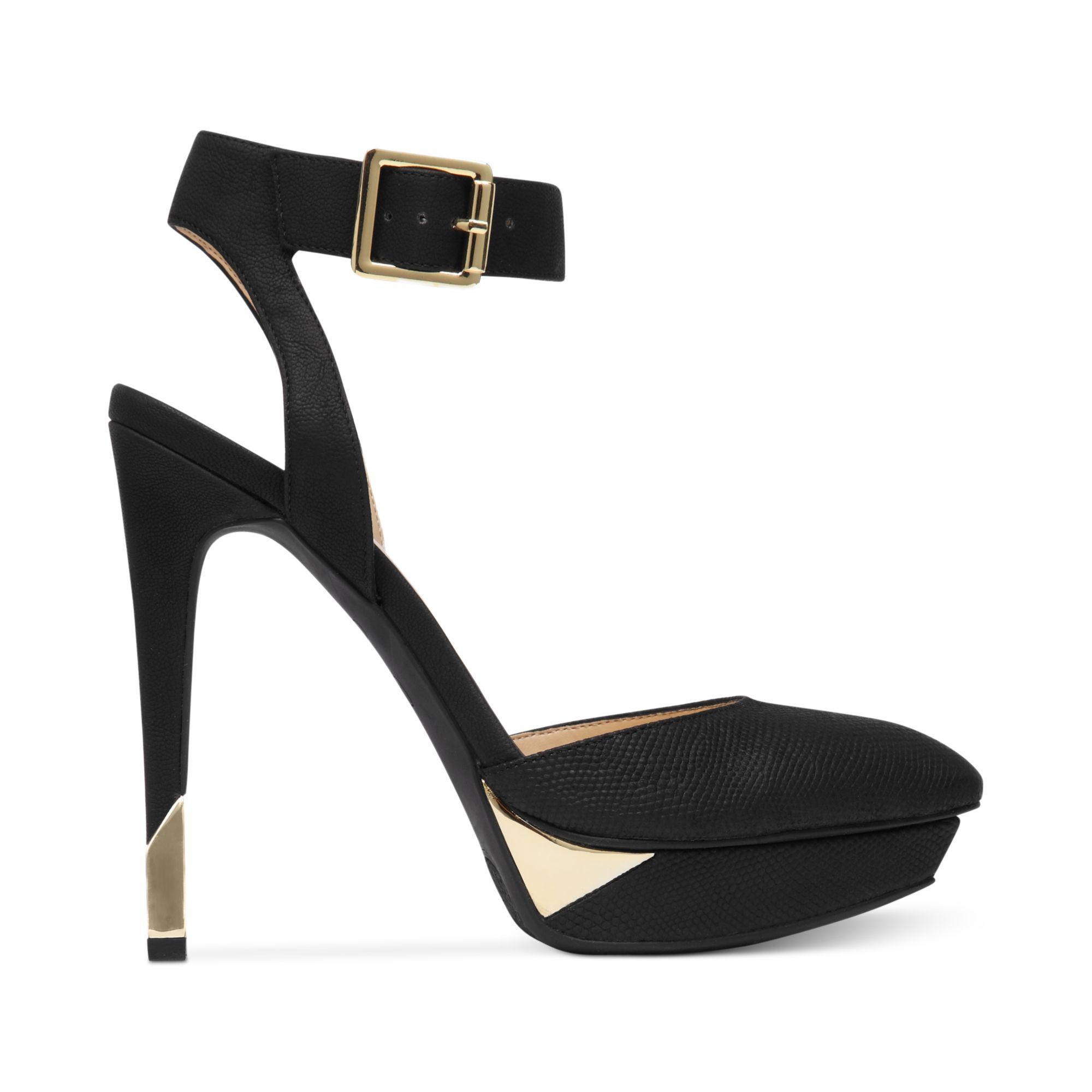 Jessica simpson Valleyy Ankle Strap Platform Pumps in Black | Lyst