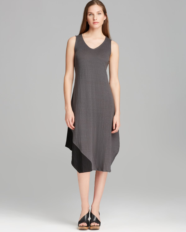 Eileen Fisher V Neck Color Block Dress In Black Graphite