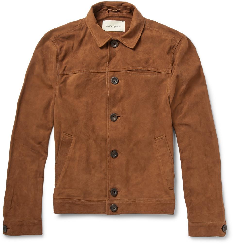 Oliver spencer Suede Shirt Jacket in Brown for Men | Lyst