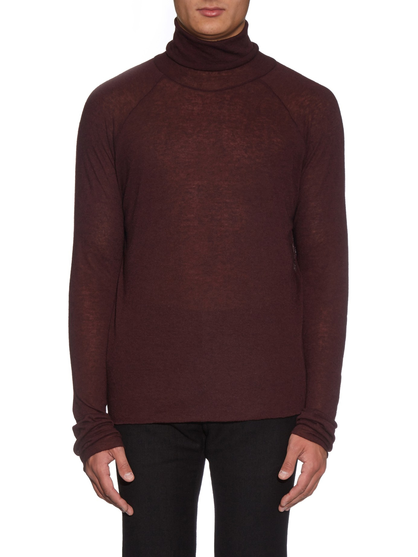 haider ackermann fine gauge roll neck sweater in purple. Black Bedroom Furniture Sets. Home Design Ideas