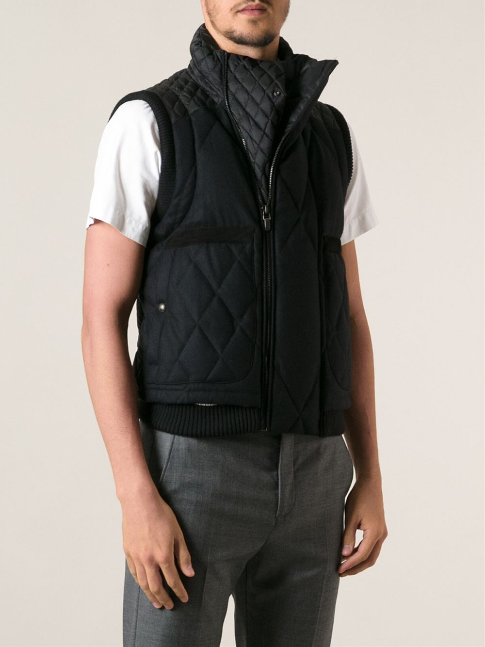 Moncler Gamme Bleu Leather Trimmed Padded Vest in Black for Men - Lyst 0377b3c7e0a