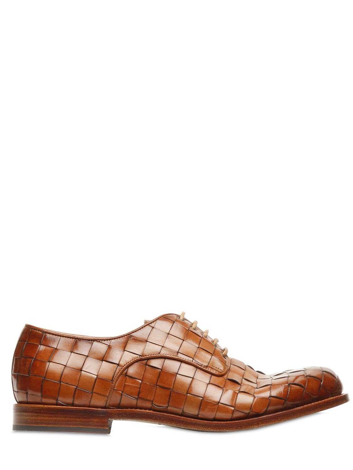 santoni woven leather derby lace up shoes in brown