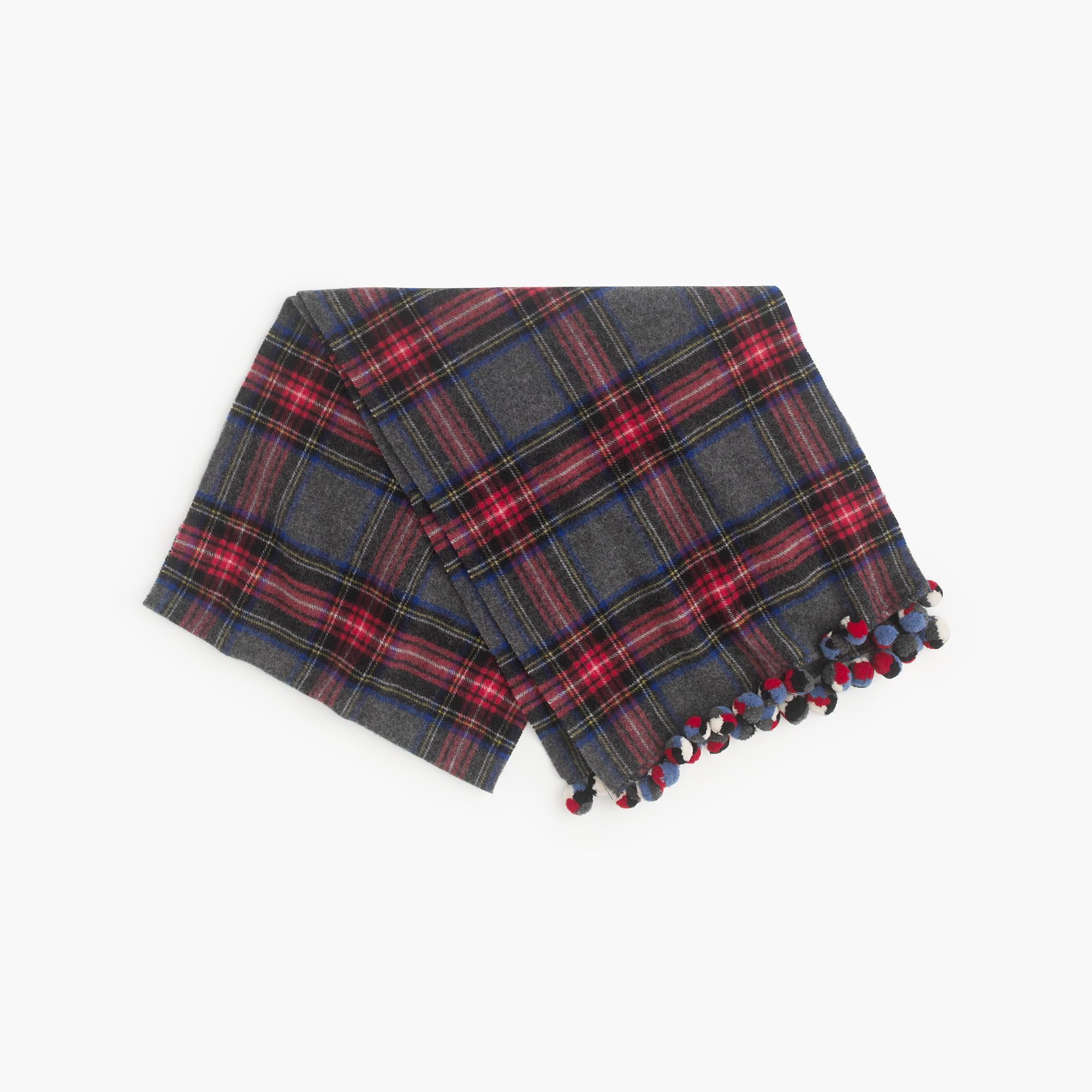 plaid pom pom scarf in blue red cobalt lyst. Black Bedroom Furniture Sets. Home Design Ideas