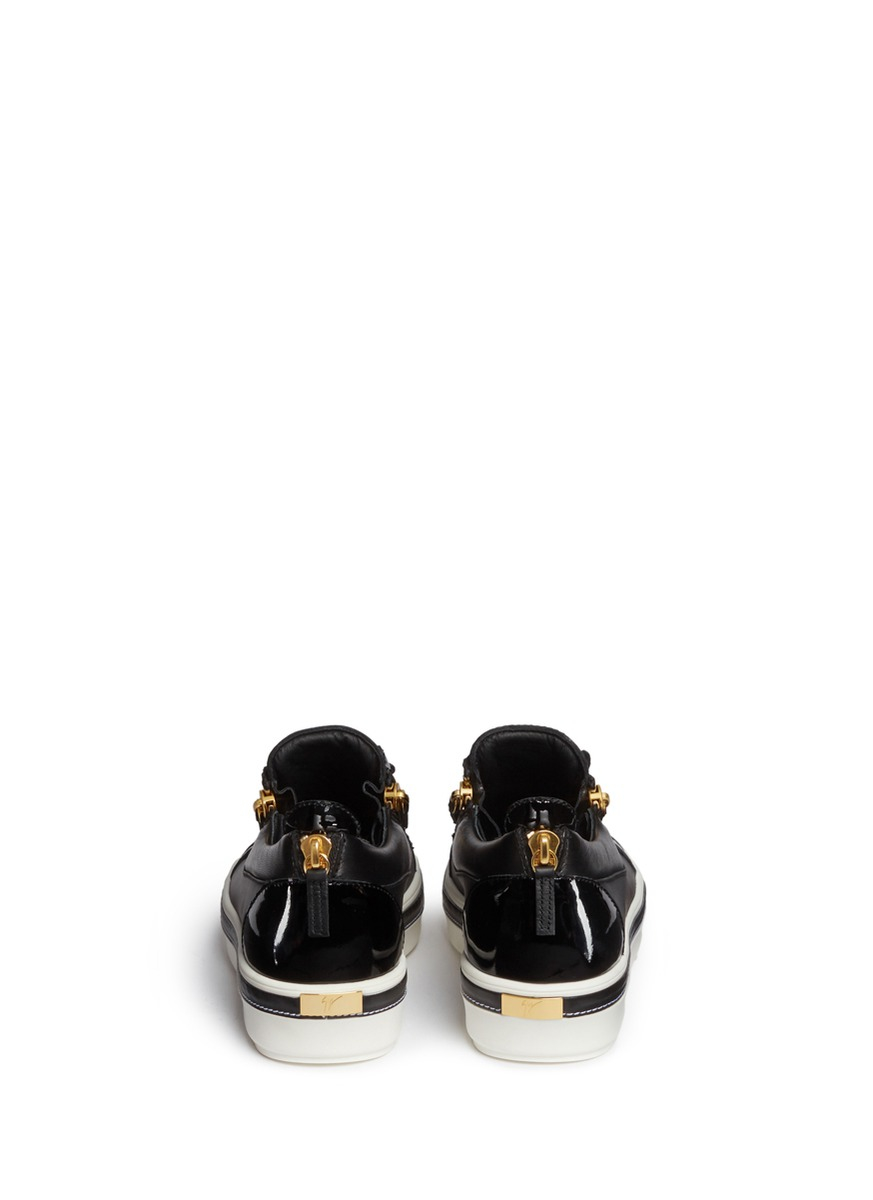 Giuseppe Zanotti 'ace' Low Top Leather Sneakers in Black