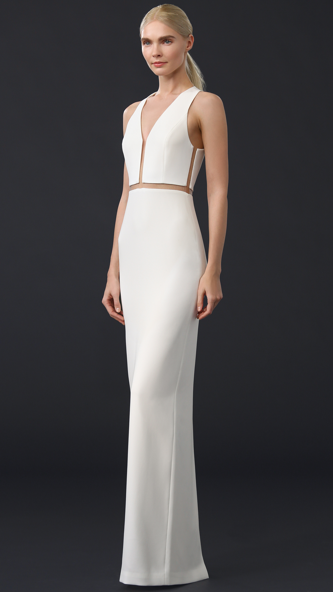 Alexander Wang Synthetic V Neck Gown With Fishing Line