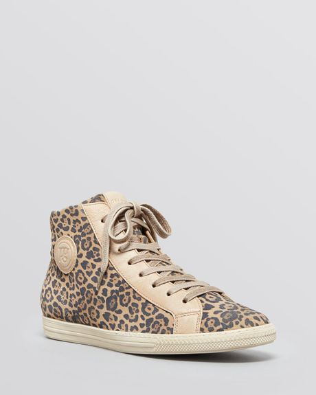 paul green lace up high top sneakers venus leopard print in gray. Black Bedroom Furniture Sets. Home Design Ideas