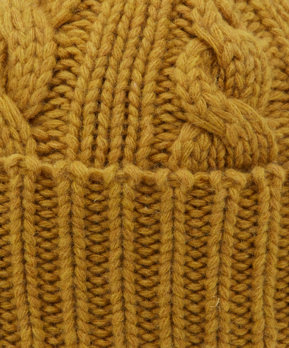 cf30a9ecb Oliver Spencer Yellow Mustard Cable Knit Woolblend Beanie Hat for men