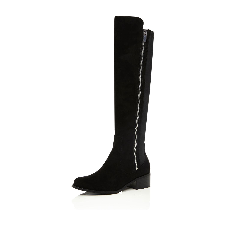 river island black zip side knee high flat boots in black