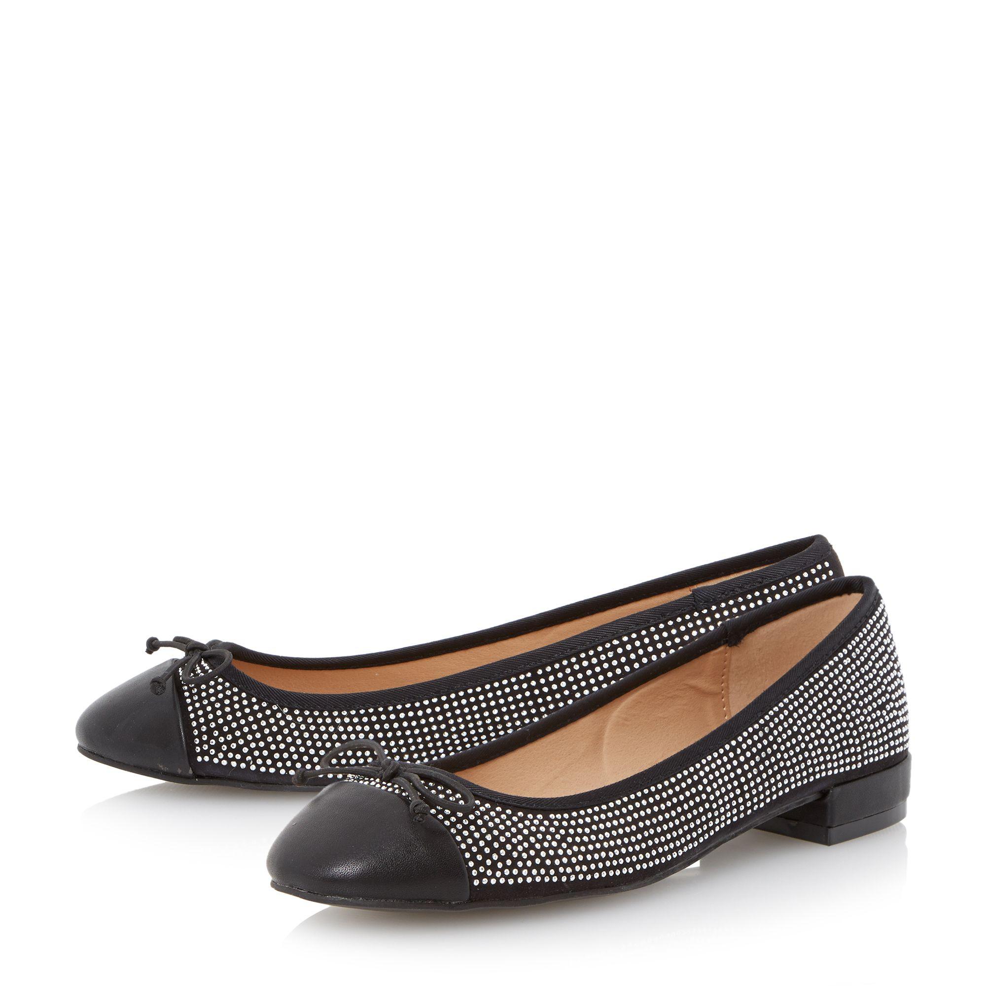 dune hascha studded ballerina shoes in black lyst