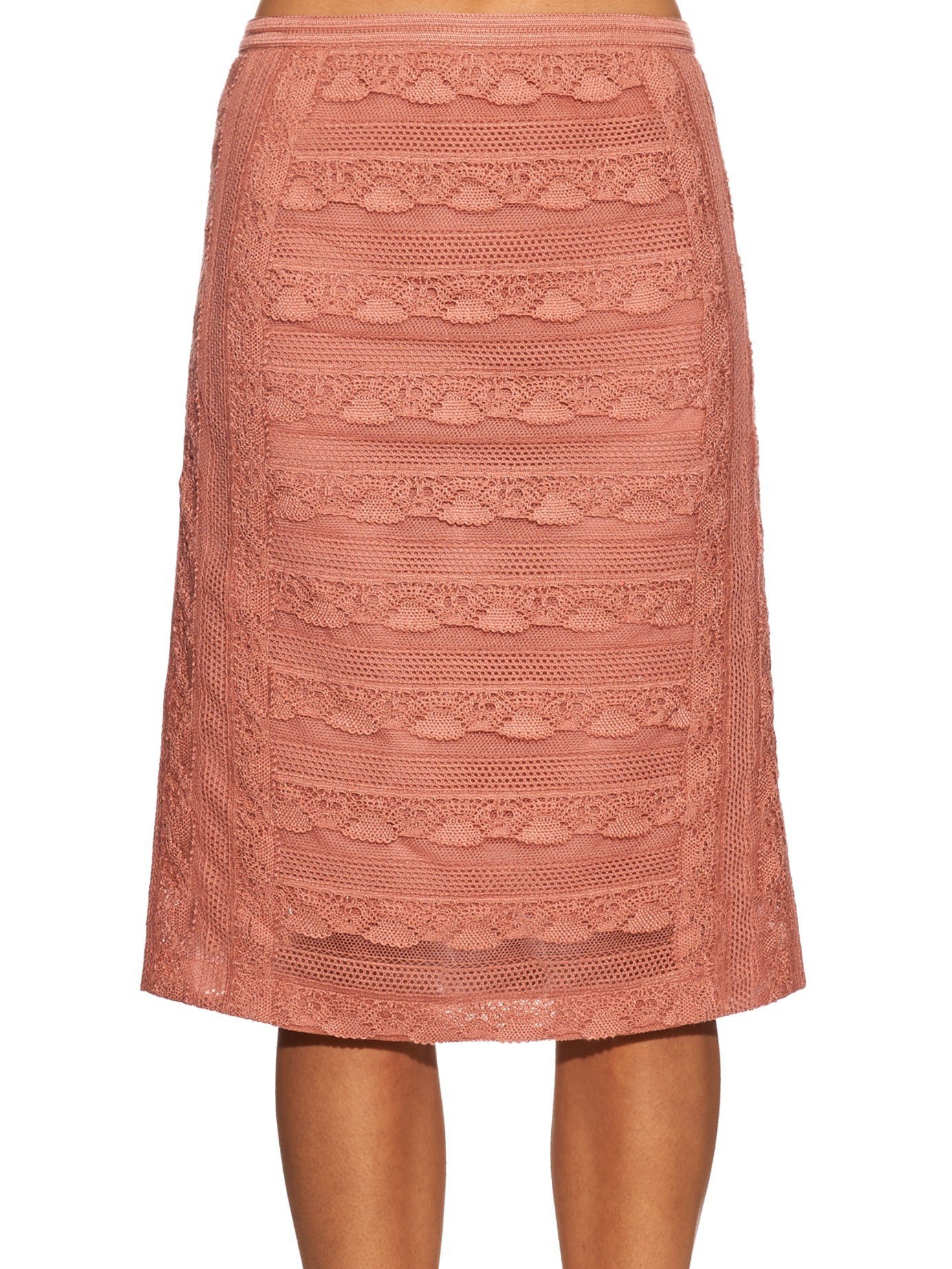 burberry prorsum tiered lace pencil skirt in pink lyst