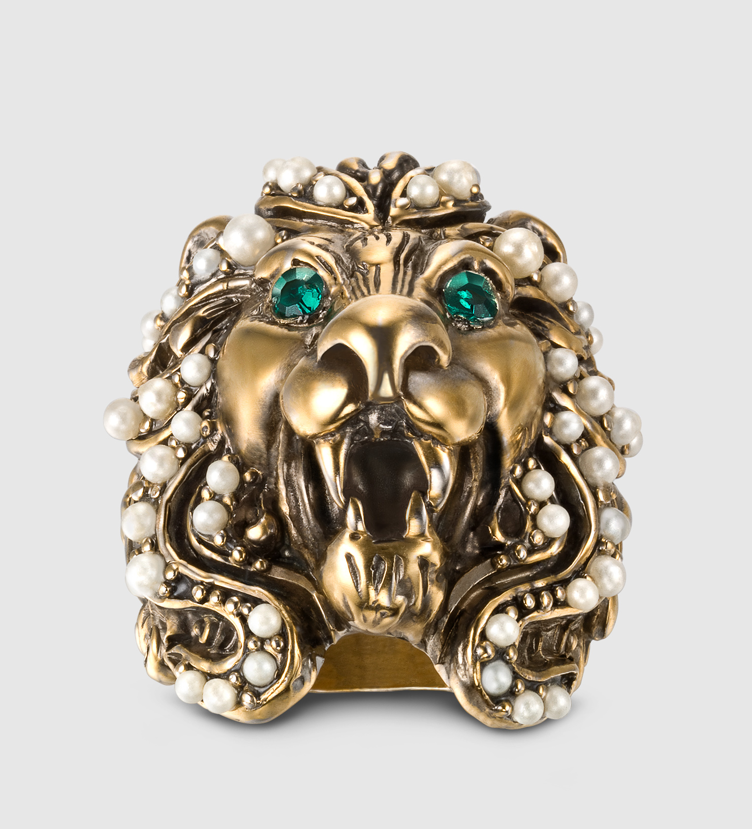 d33027098380d7 Lyst - Gucci Lion Head Ring With Crystals in Metallic