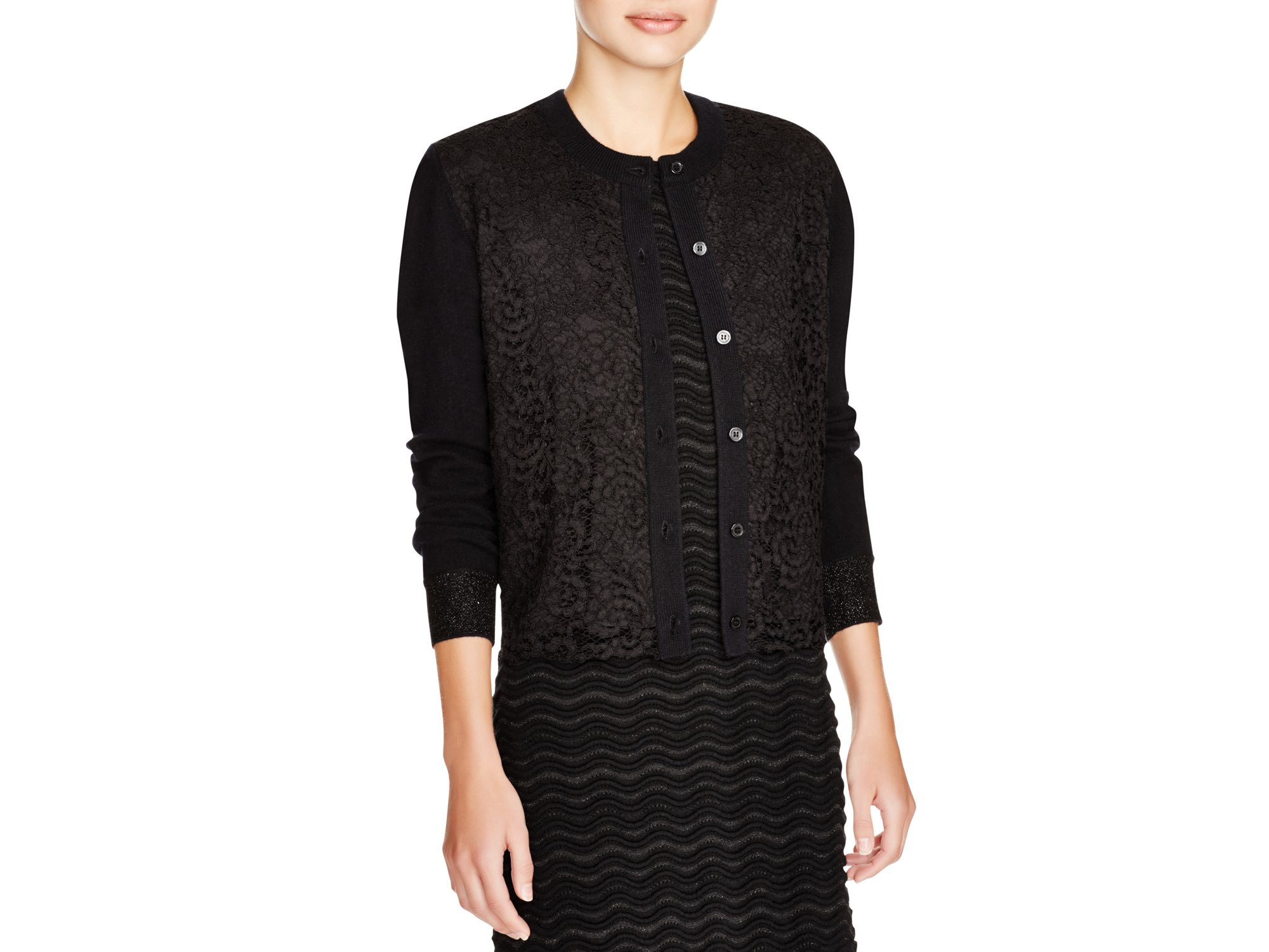 Tory burch Lace Front Cardigan in Black | Lyst