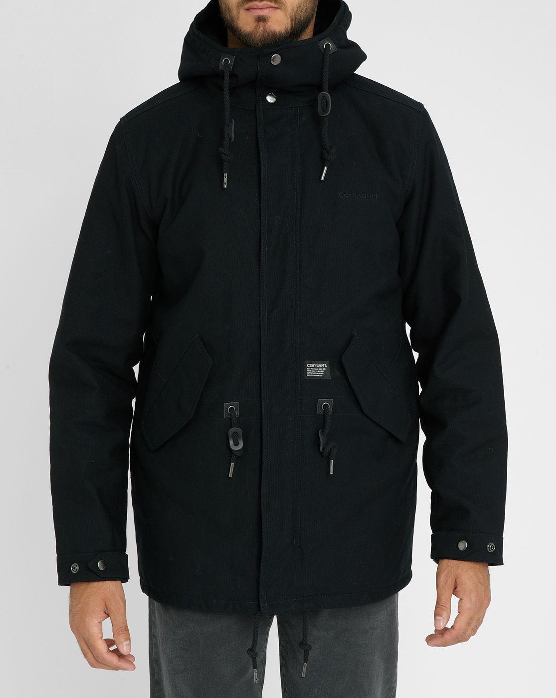 carhartt clash quilted hooded parka in black for men lyst. Black Bedroom Furniture Sets. Home Design Ideas