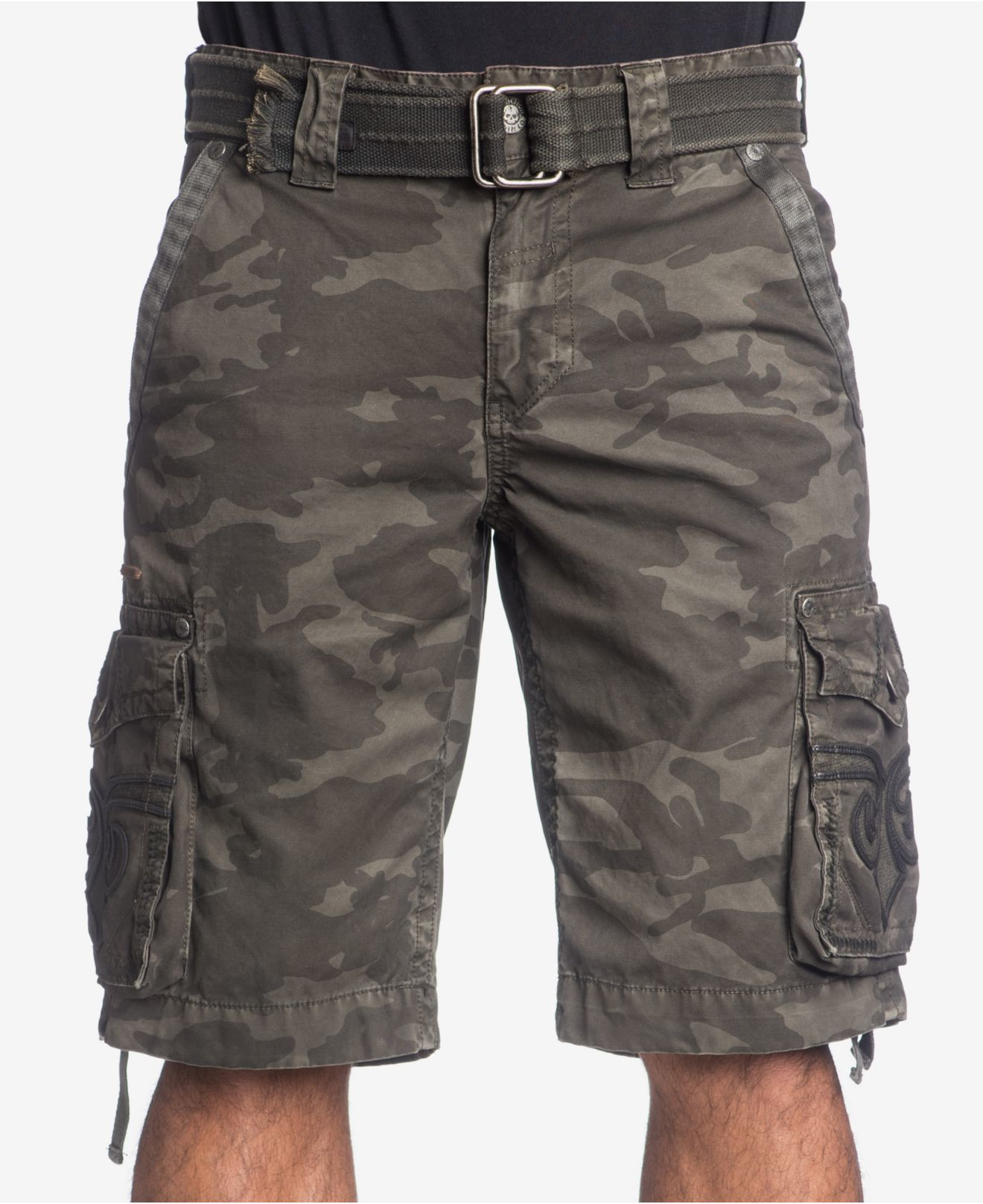 Affliction Men's Raided Camouflage Cargo Shorts in Gray for Men | Lyst