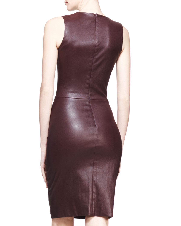 The row Stretch Leather Sheath Dress Mahogany in Purple | Lyst