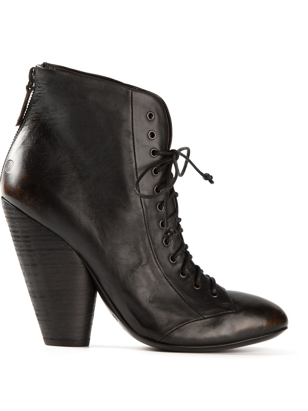 mars 232 ll chunky heel lace up boots in black lyst