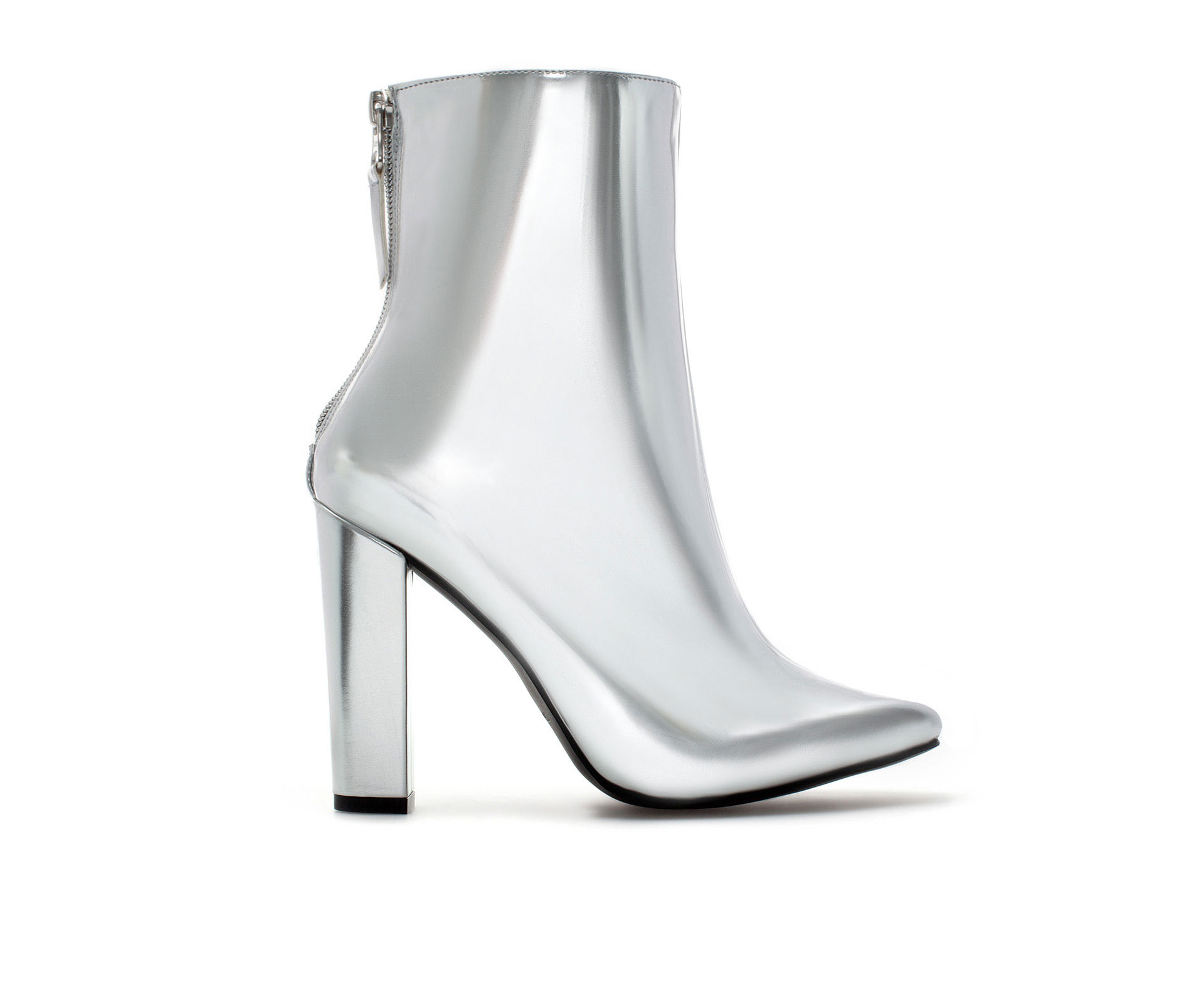 zara high heel metallic ankle boot in metallic lyst