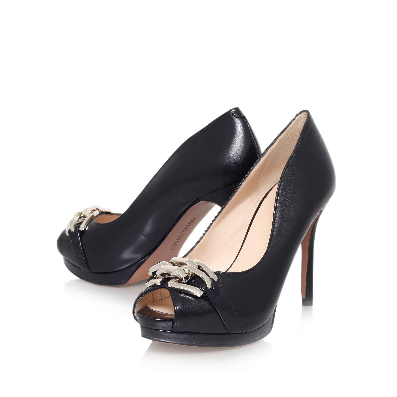 nine west finoula high heel peep toe court shoes in black
