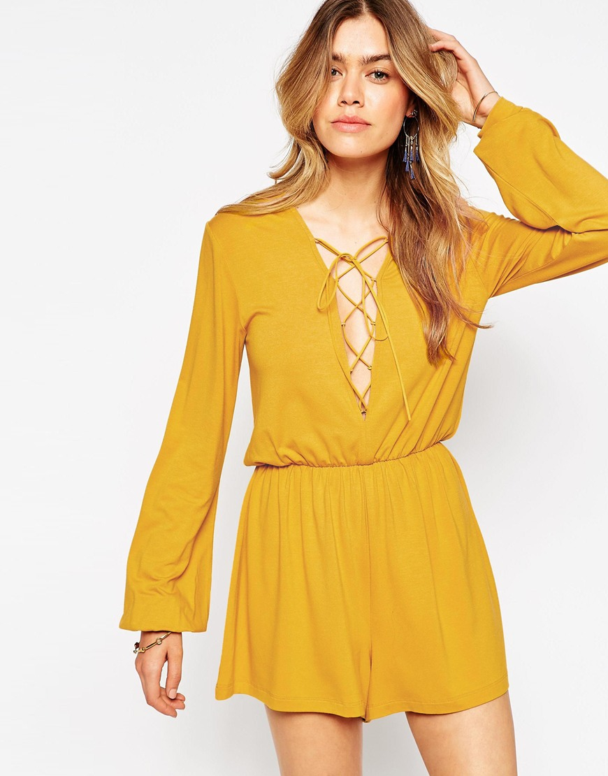 825696a7a0e Lyst - ASOS Playsuit With Lace Up Front in Yellow
