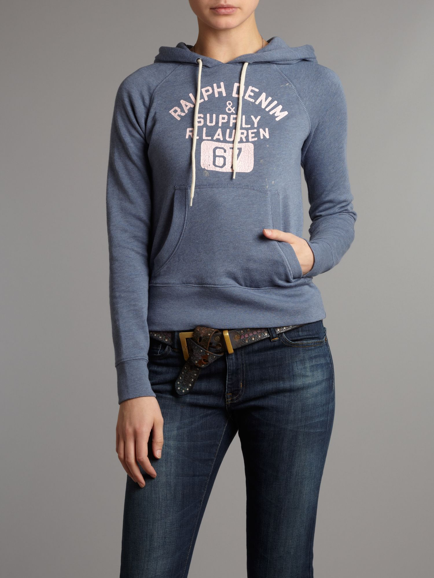 lyst denim supply ralph lauren pull on hoodie in gray. Black Bedroom Furniture Sets. Home Design Ideas
