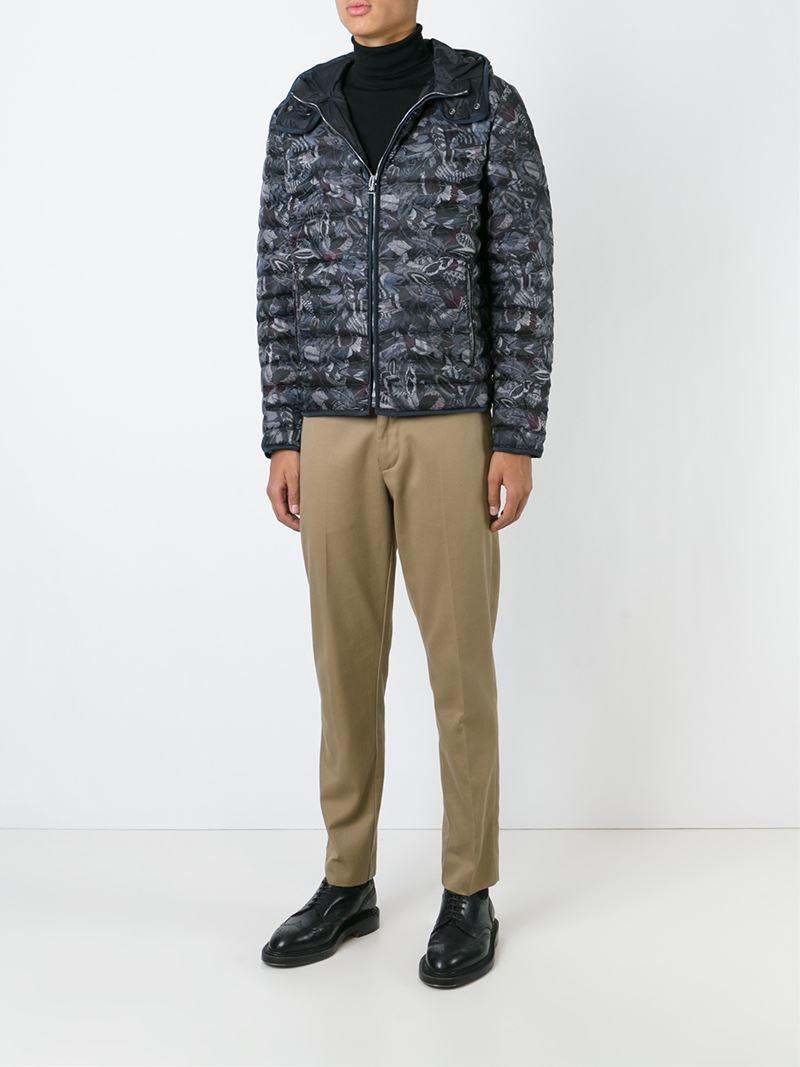 Ferragamo Feather Print Jacket in Black for Men