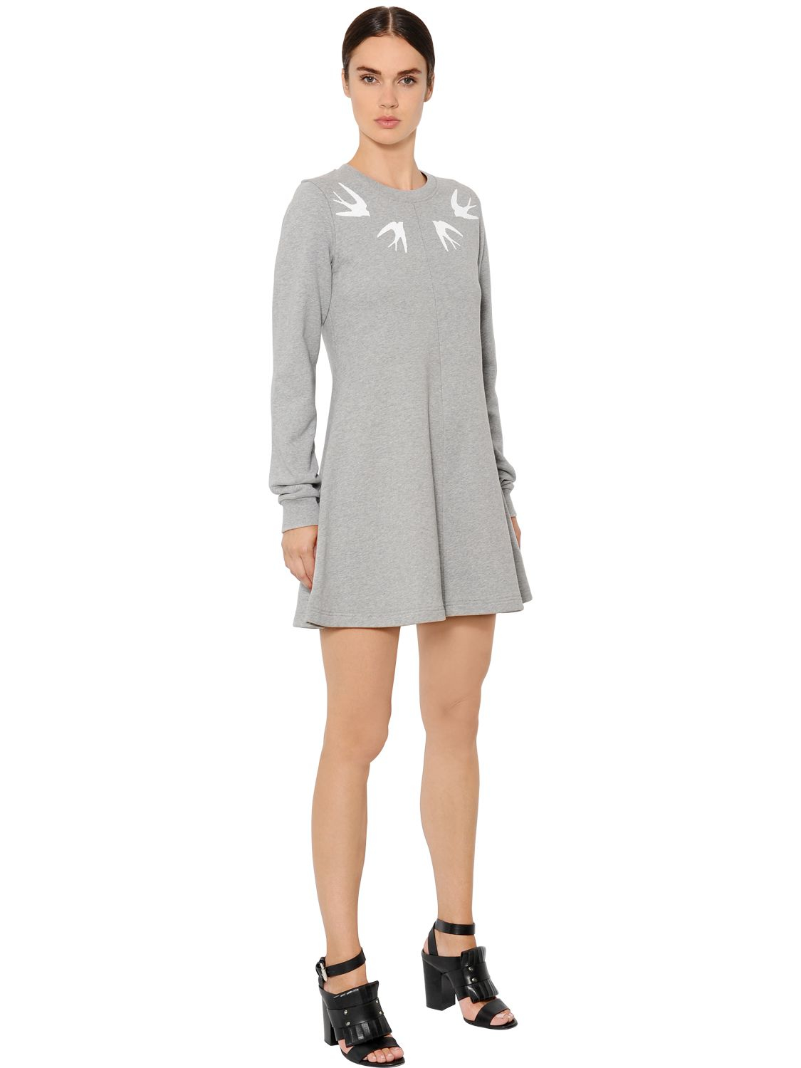 Mcq Embellished Heavy Cotton Jersey Dress In Gray Lyst