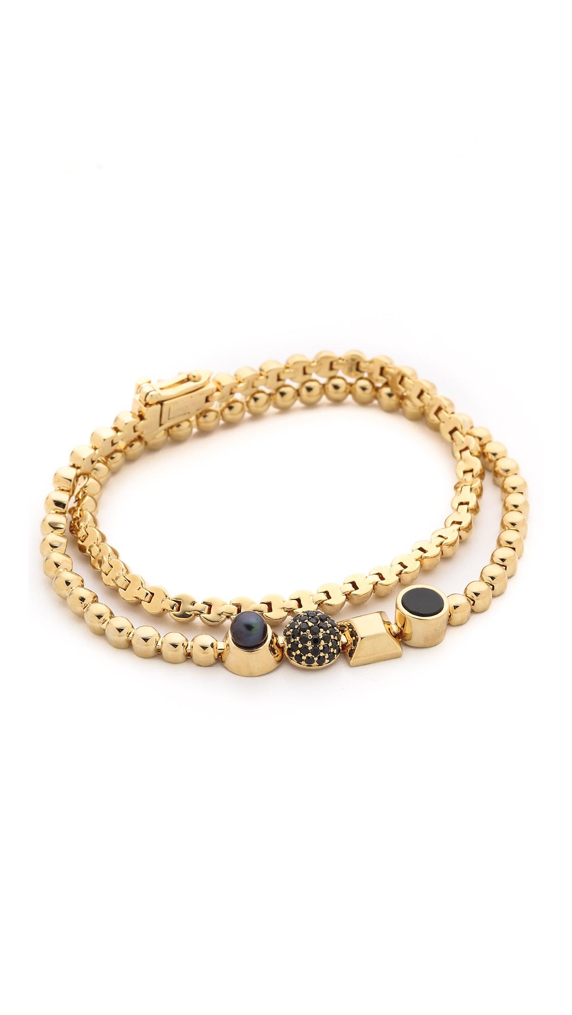 eddie borgo wrap collage bracelet in metallic lyst