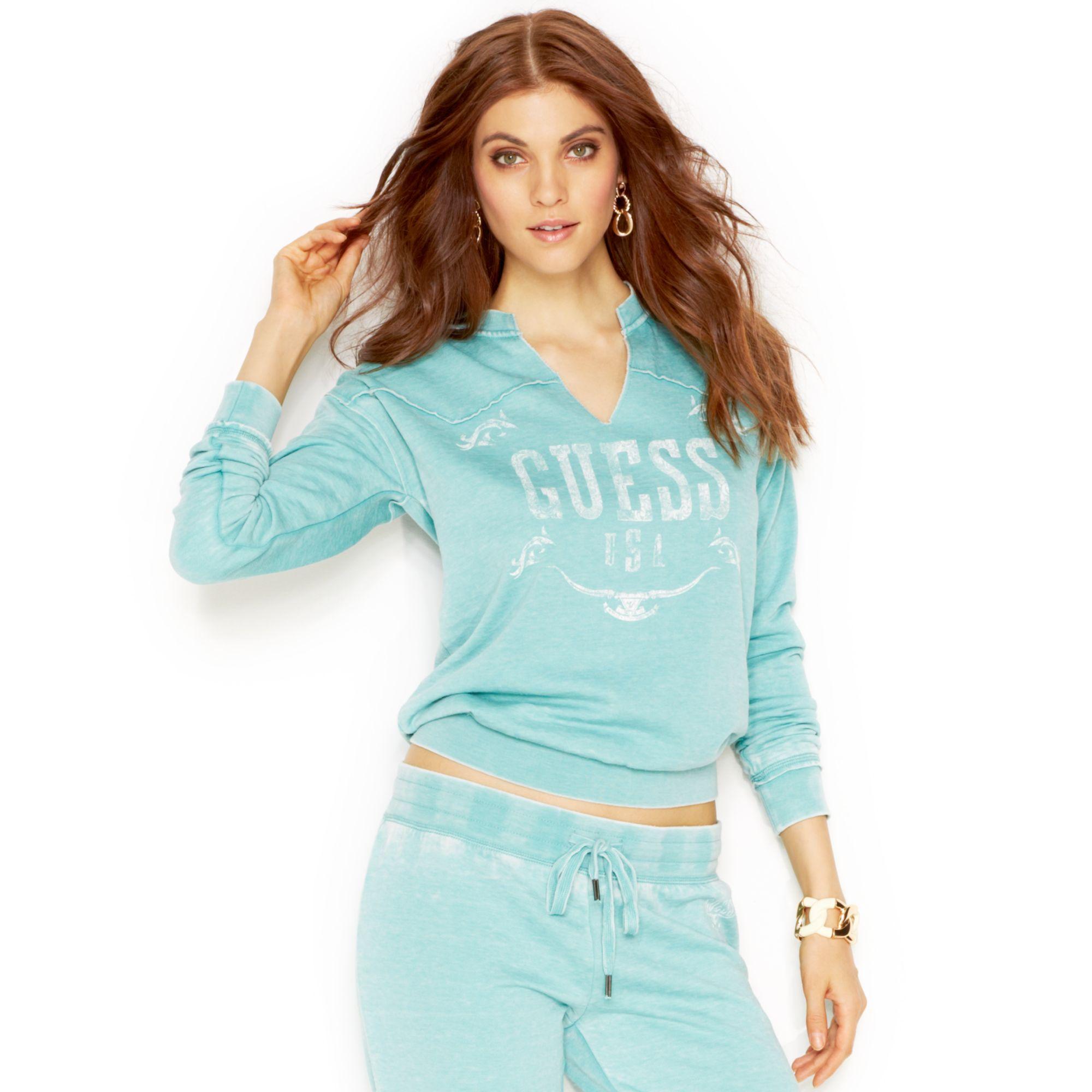 Guess Long Sleeve Vneck Logo Sweatshirt In Blue Lyst