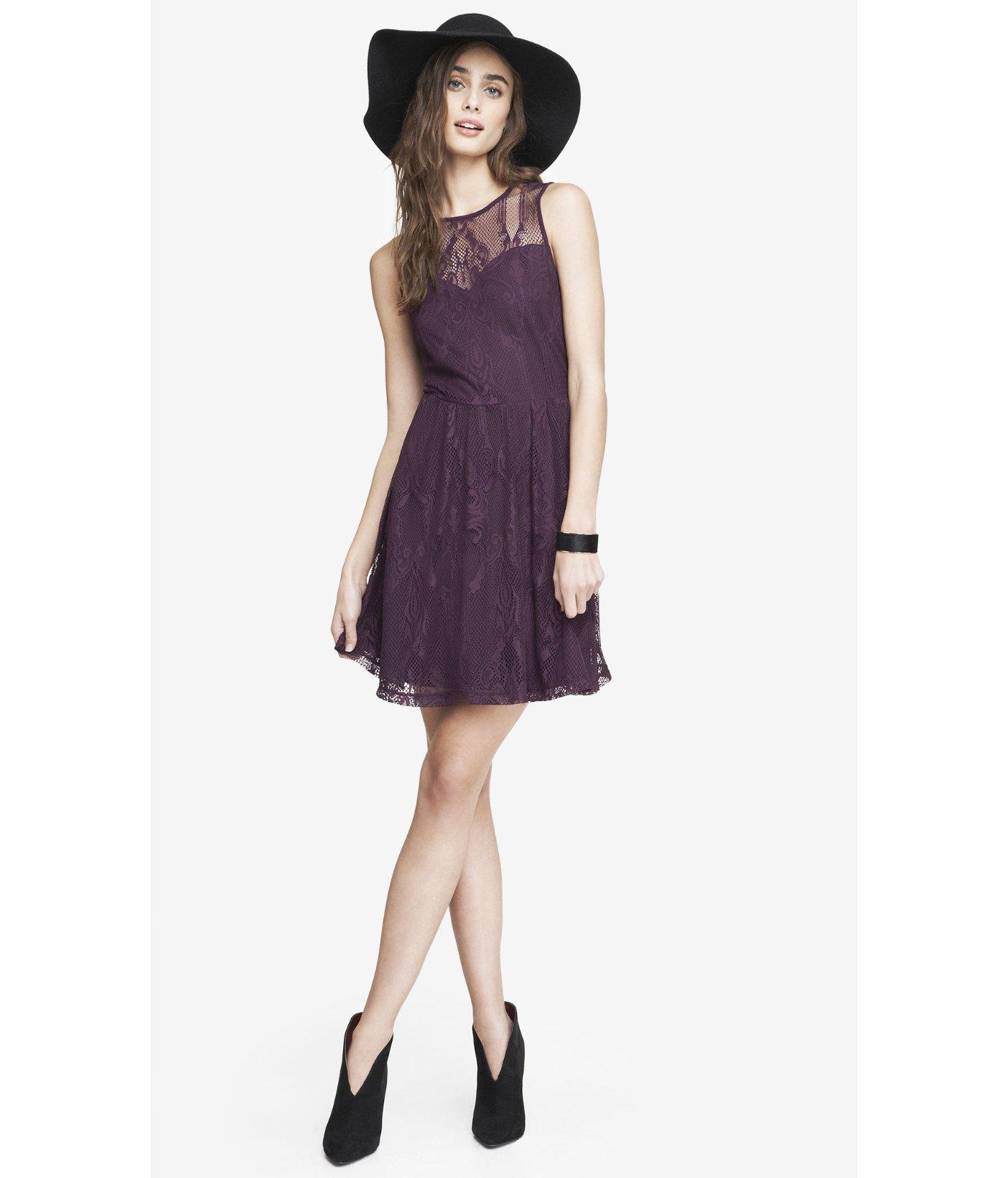 da79d716cb3 Express Lace Skater Dress - Dark Berry in Purple - Lyst