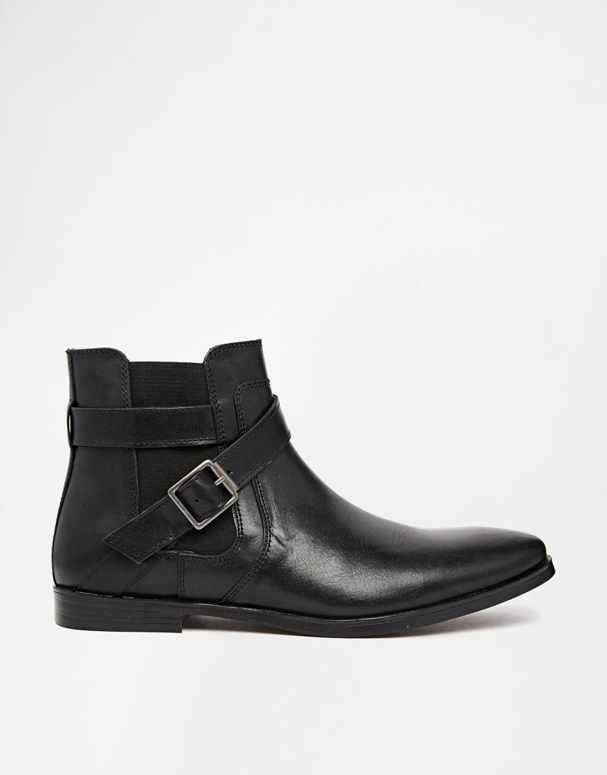 lyst asos buckle chelsea boots in leather in black for men. Black Bedroom Furniture Sets. Home Design Ideas