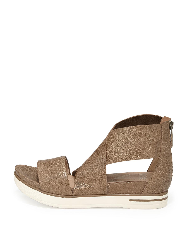 Eileen Fisher Sport Wide Strap Sandals In Bronze Metallic