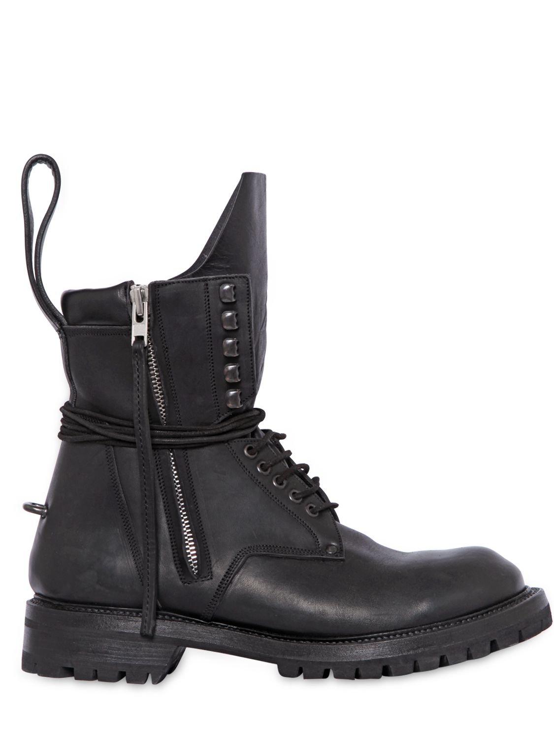 Rick Owens Leather Combat Boots In Black For Men Lyst
