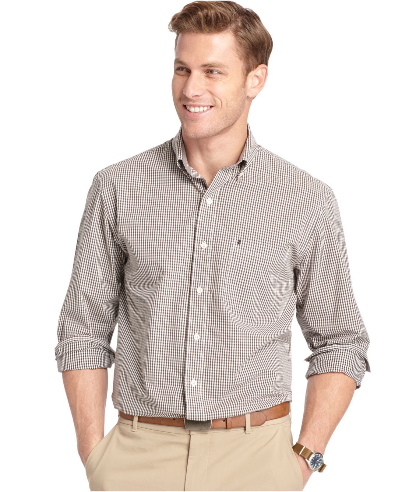 Izod long sleeve gingham button down shirt in brown for for Izod button down shirts