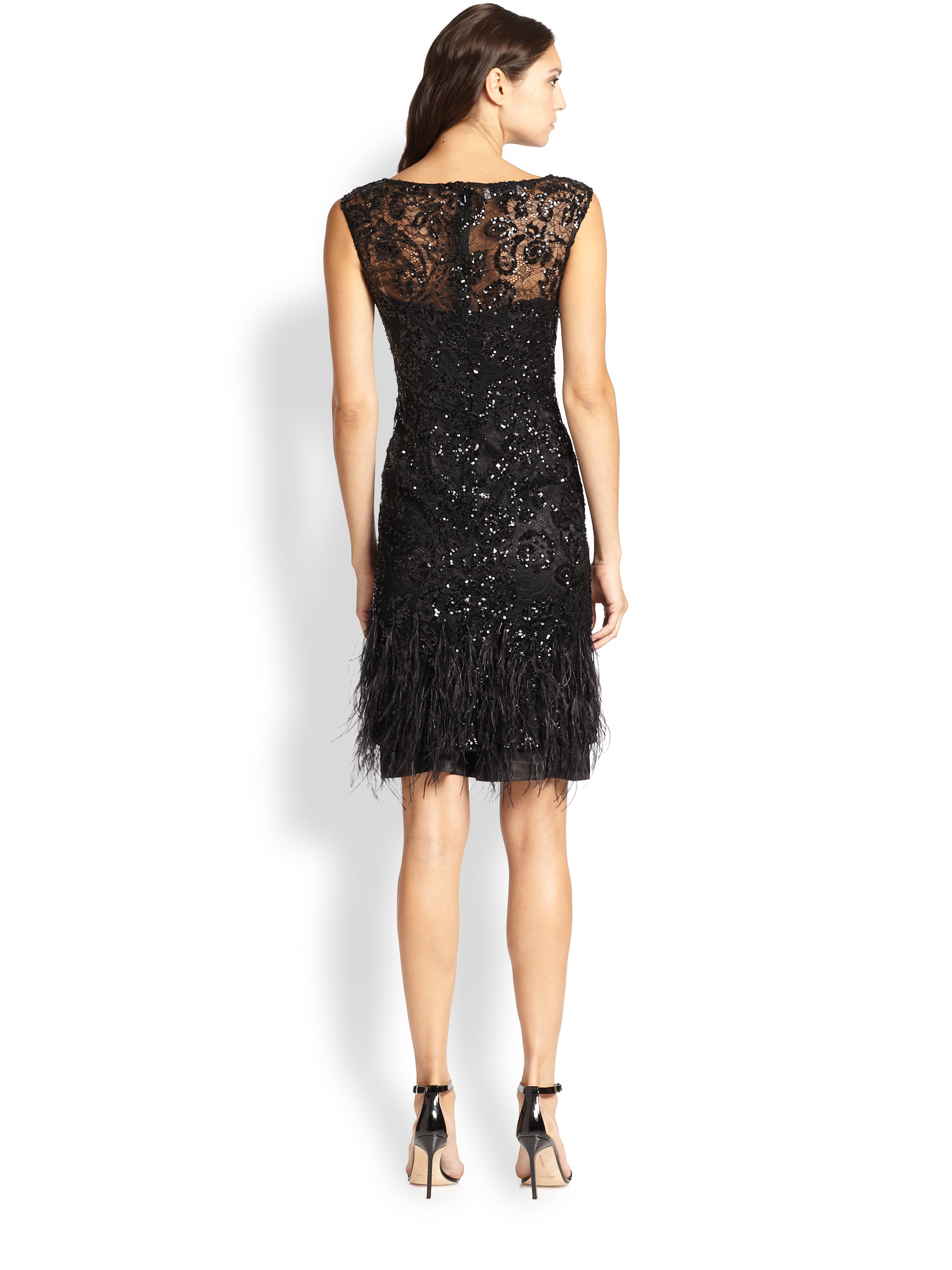 teri jon beaded feather trim dress in black lyst
