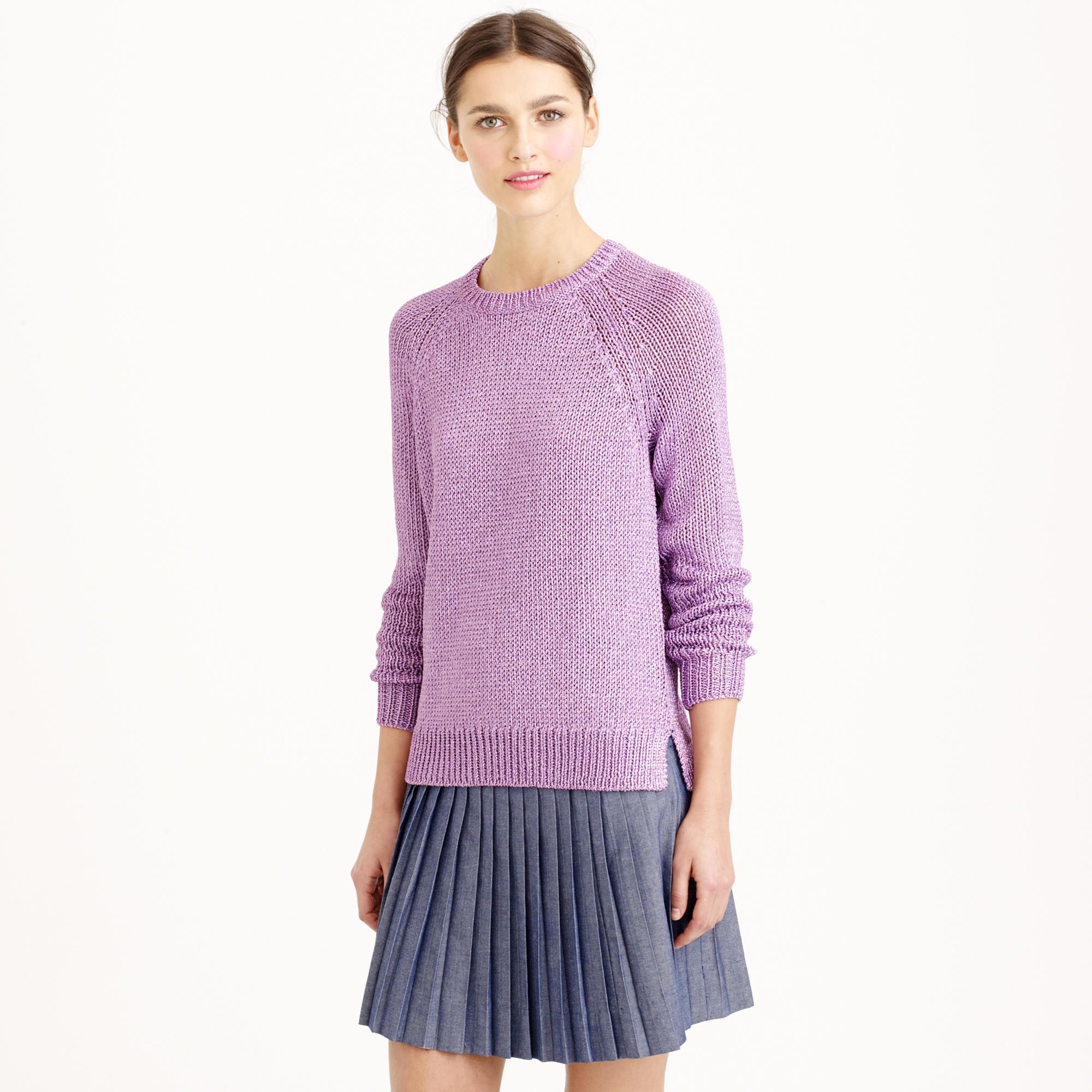 J.crew Metallic Side-slit Sweater in Purple | Lyst