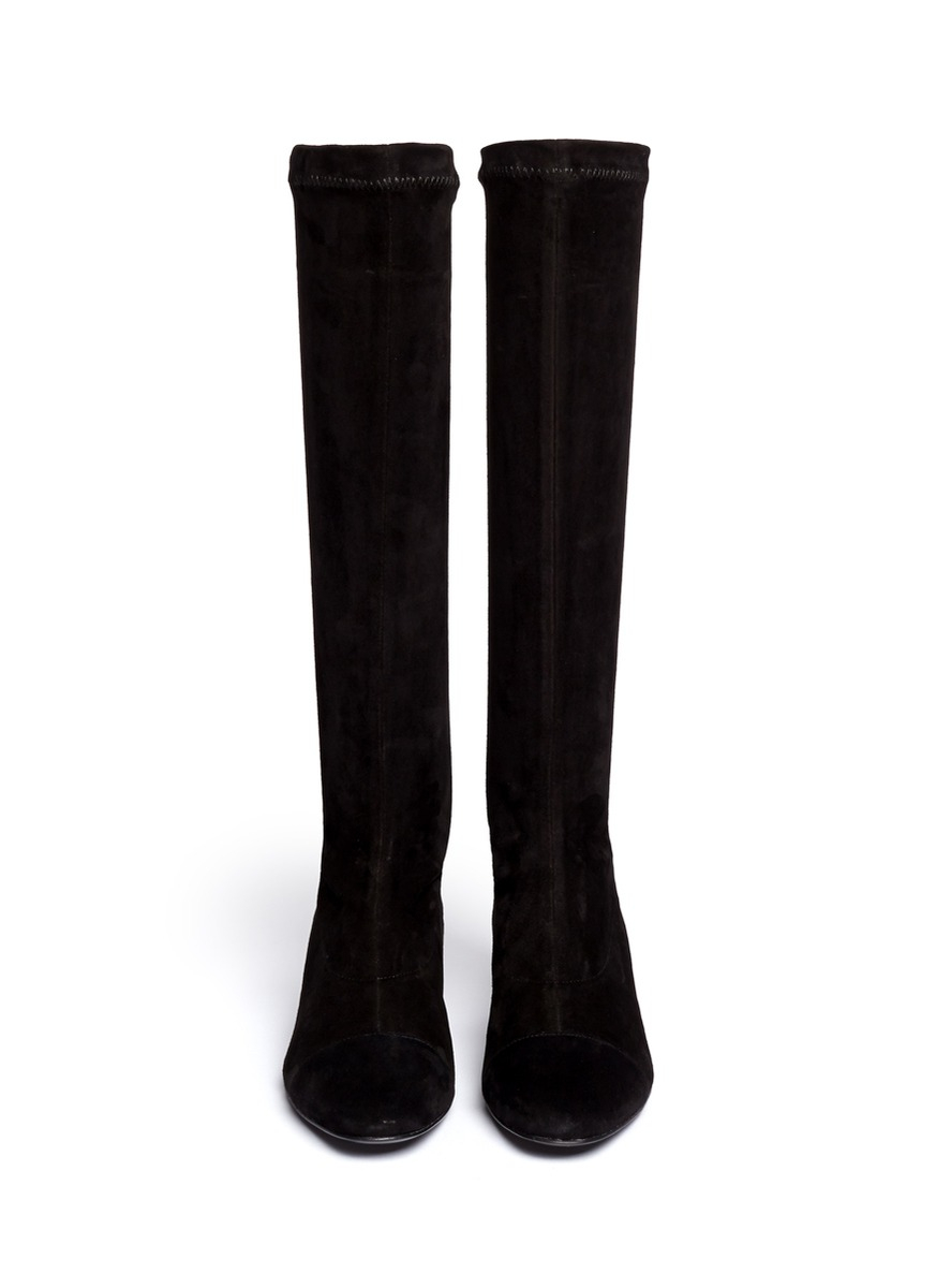robert clergerie cofre metal heel suede knee high boots