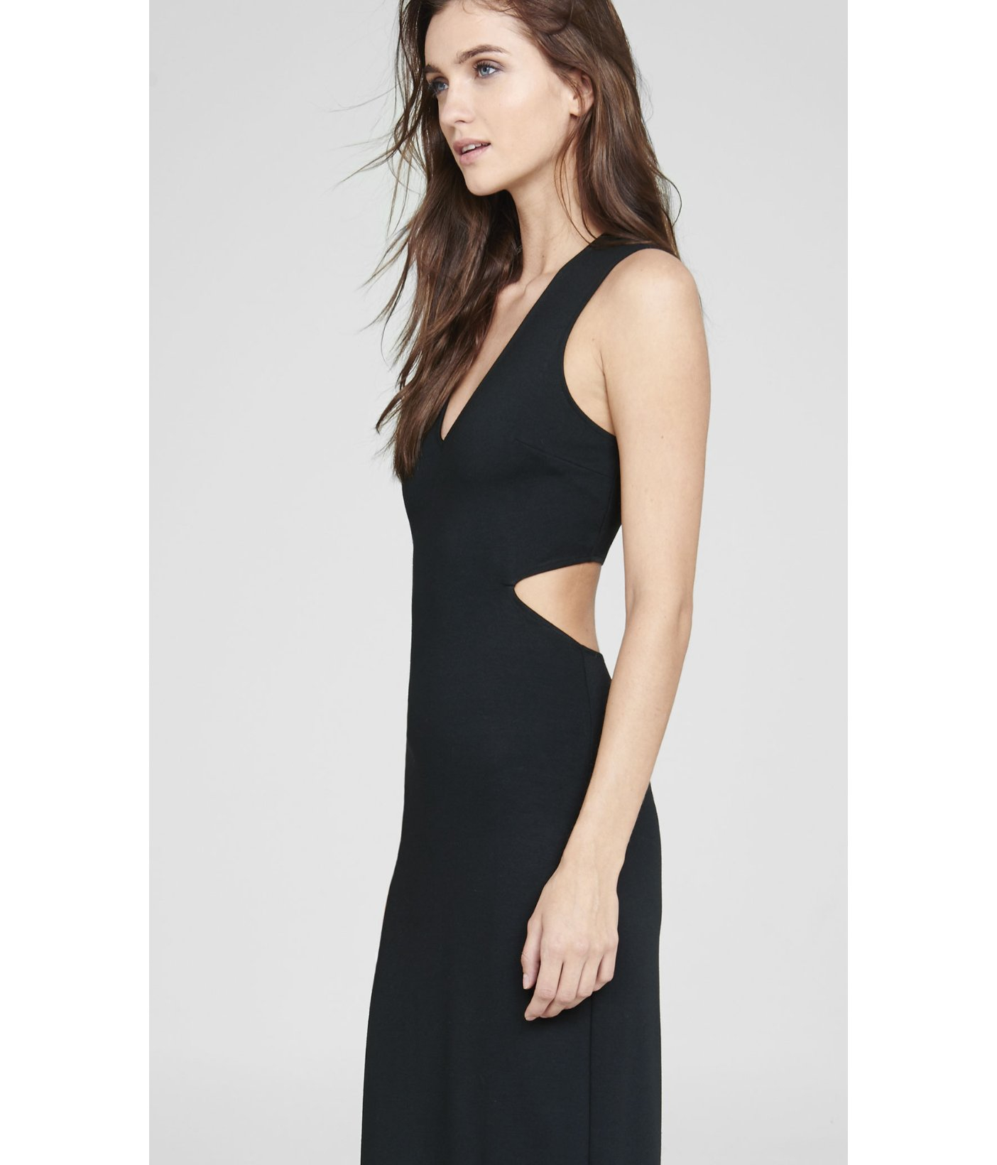 5e6eb3a7747 Express Black Deep V-neck Cut-out Sleeveless Maxi Dress in Black - Lyst