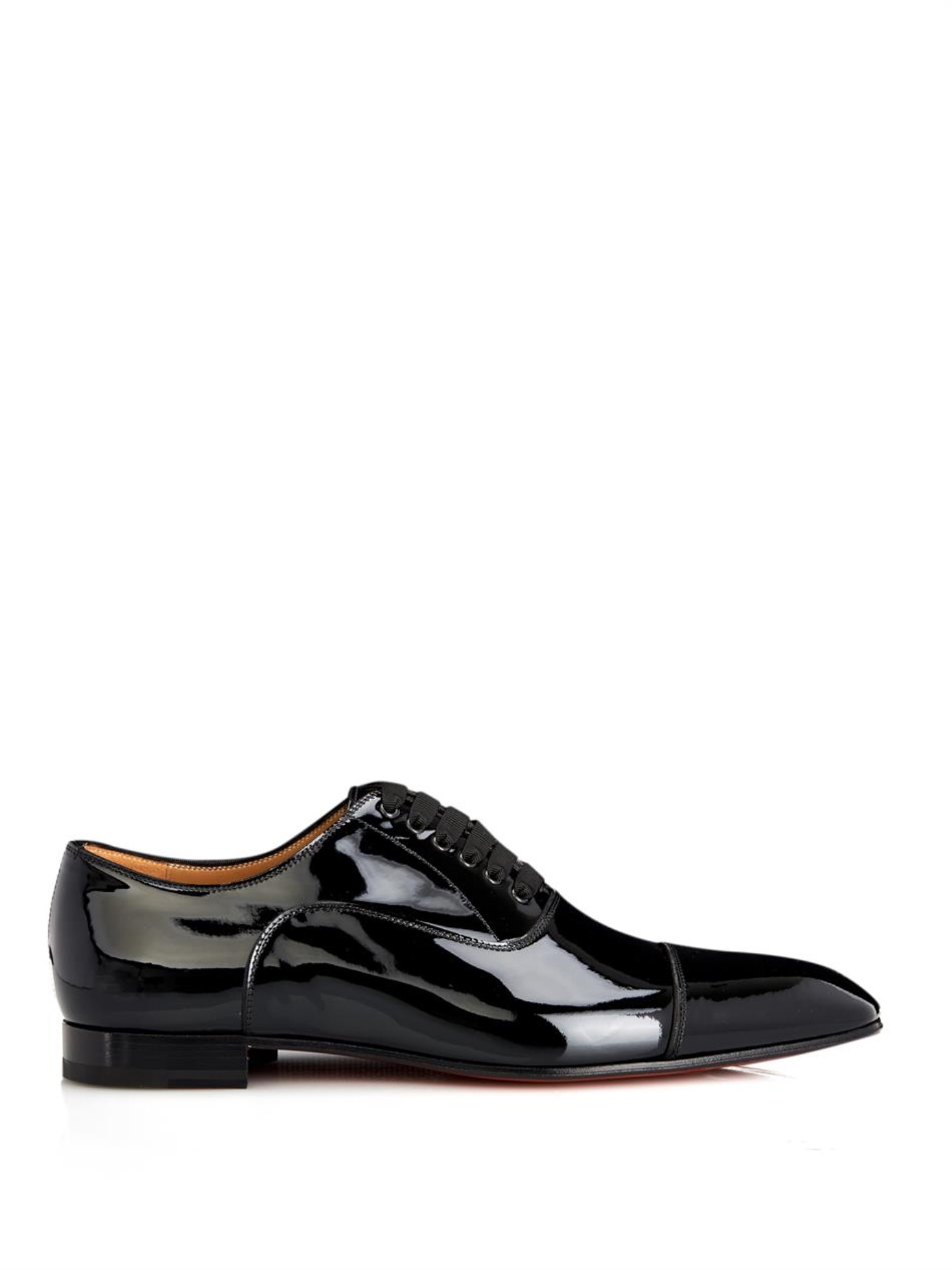 louboutin shoes fake - Christian louboutin Greggo Patent-Leather Lace-Up Shoes in Black ...
