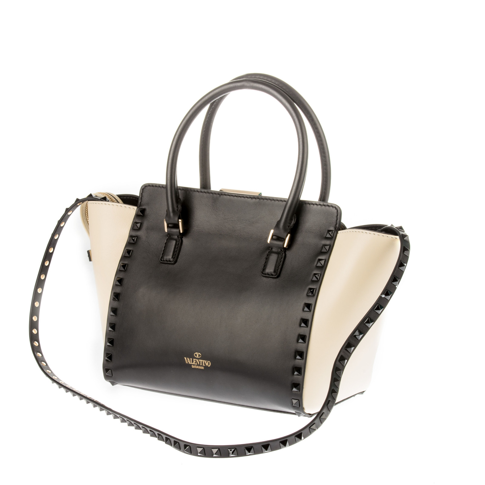 Valentino Black And White Leather Handle Bag in Black ...