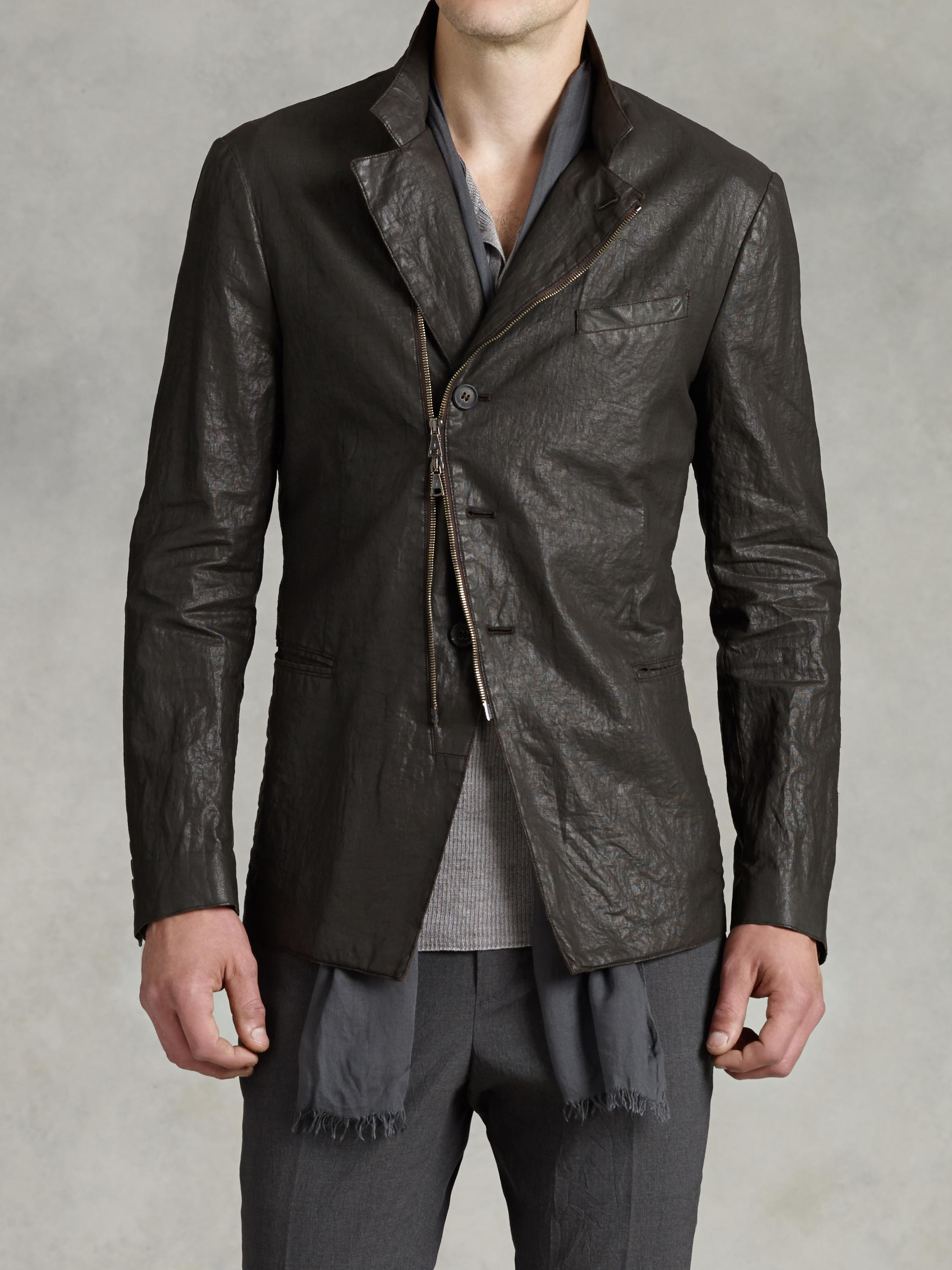 John Varvatos Asymmetrical Waxed Linen Jacket In Brown For
