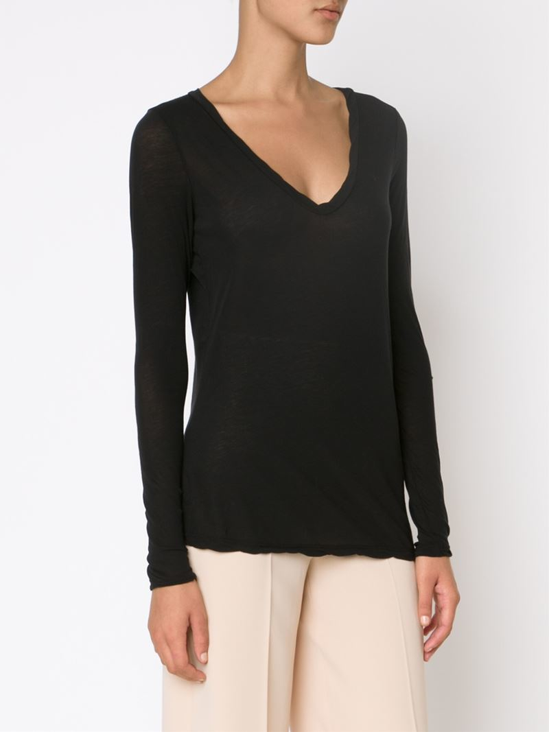 Lyst James Perse Long Sleeve V Neck T Shirt In Black