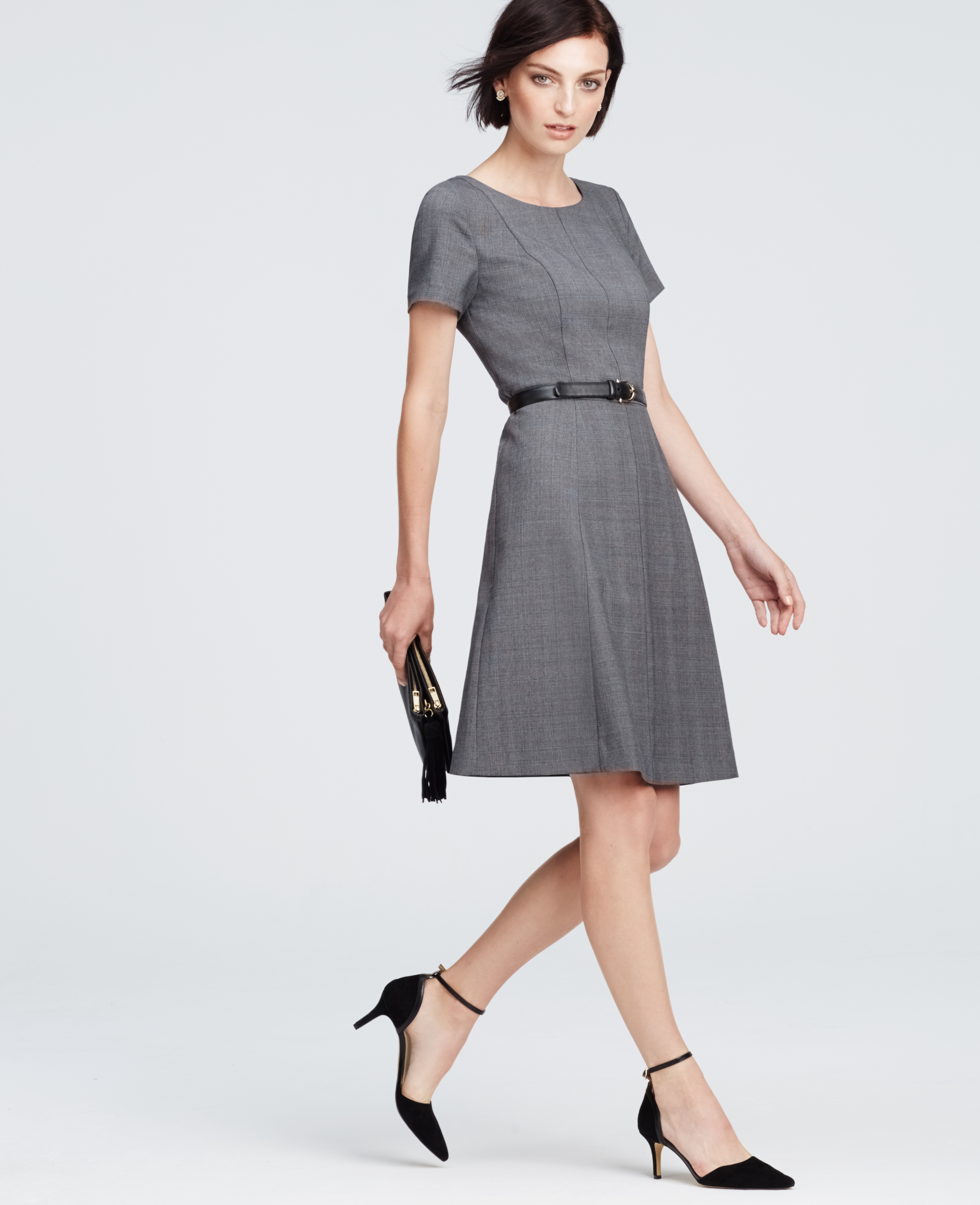 Ann Taylor Petite Plaid Flare Dress In Gray Lyst