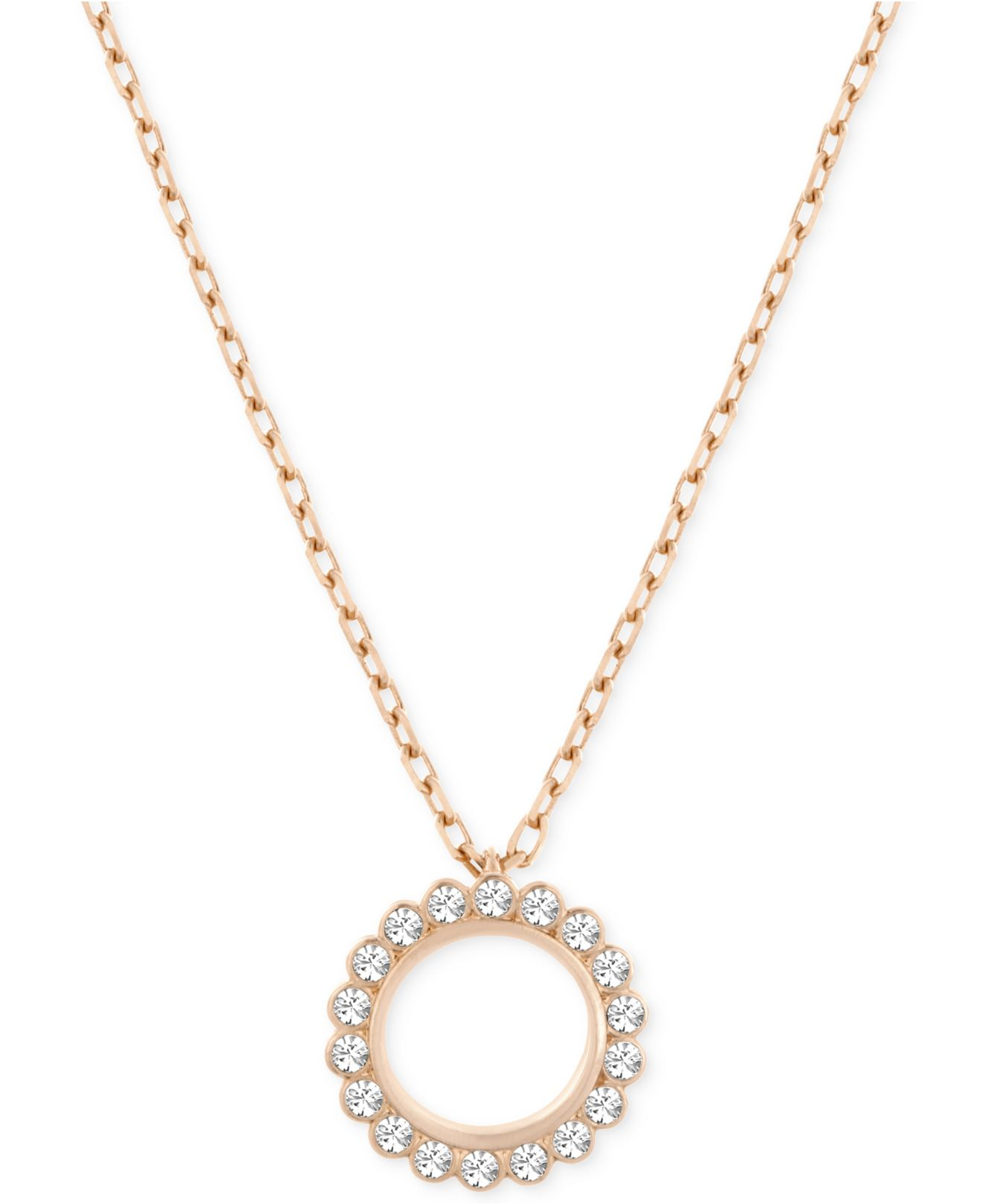 lyst swarovski rose gold tone crystal circle pendant. Black Bedroom Furniture Sets. Home Design Ideas