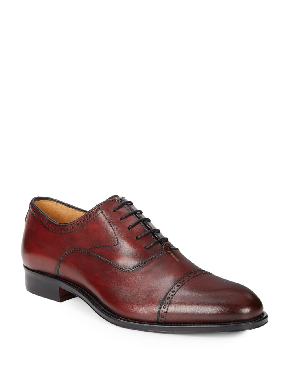 saks fifth avenue perforated leather oxford shoes in brown