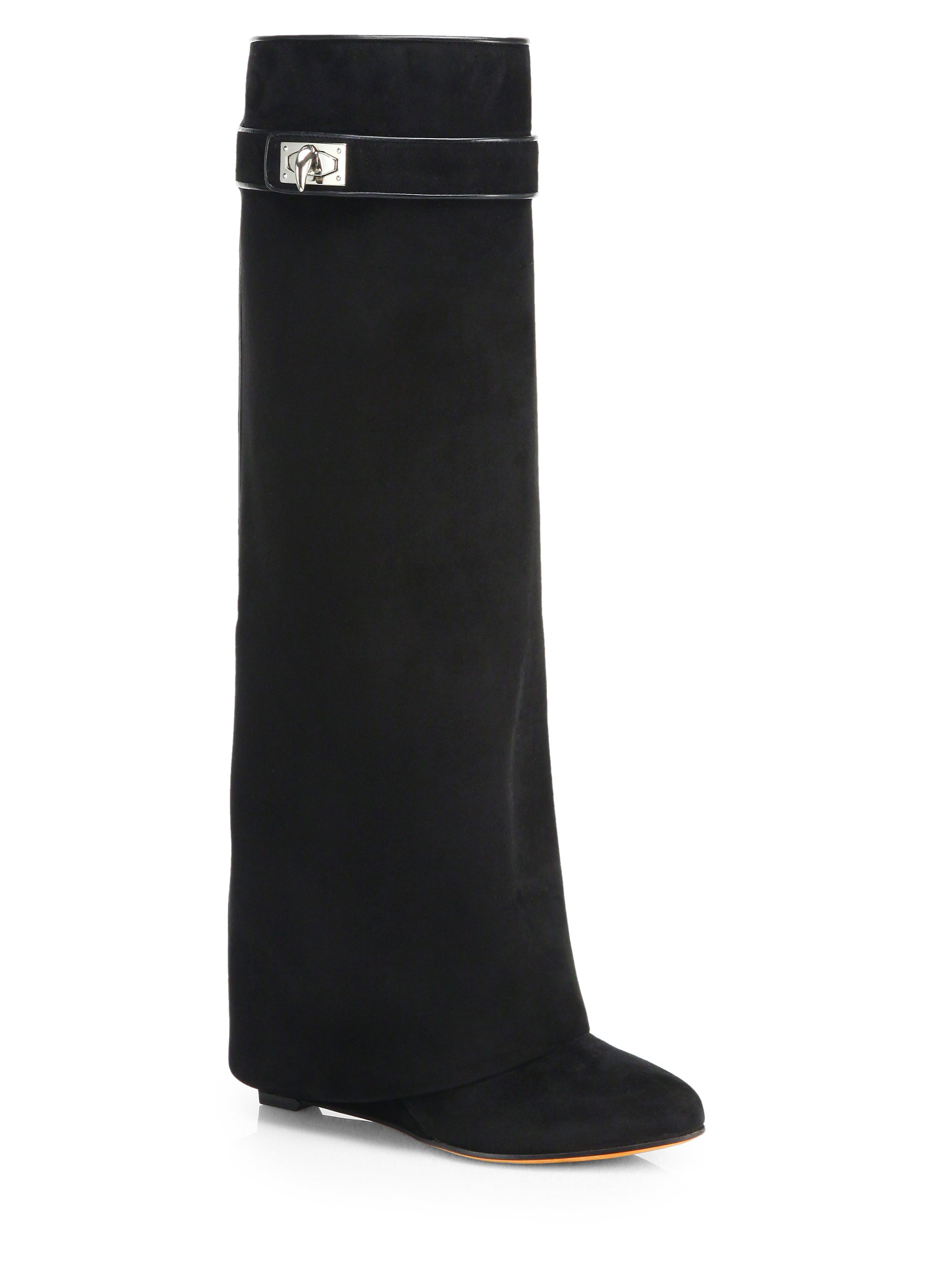 givenchy suede knee high wedge boots in black lyst